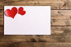 greeting card with a red heart