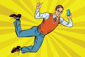 Flying hipster with a smartphone
