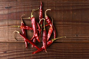Dried Chilies on Wood