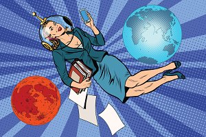 Cosmic business woman astronaut