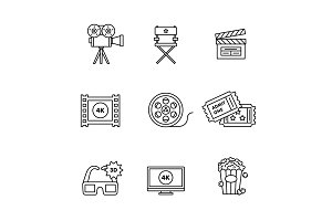Movie, film and video icons