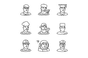 People professions faces icons