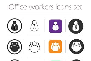 Office workers icons set. Vector