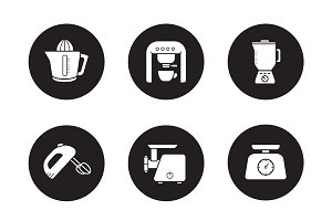 Kitchen electronics icons. Vector