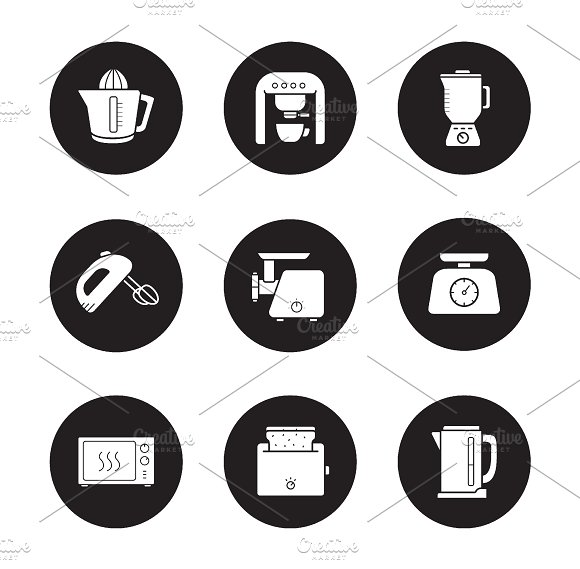 Kitchen electronics icons. Vector - Icons