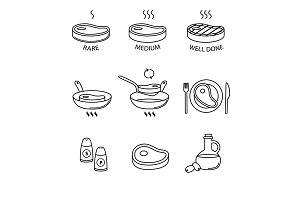Steak pan frying and cooking icons