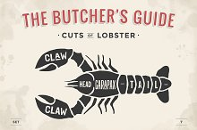 Cut of meat set. Lobster