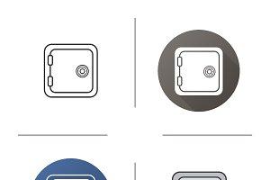 Safe deposit box icon. Vector