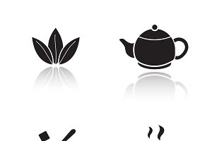 Tea accessories icons. Vector