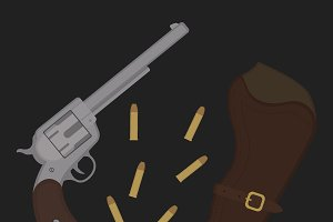 Wild west revolver icon. Vector