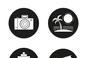 Travelling icons set. Vector