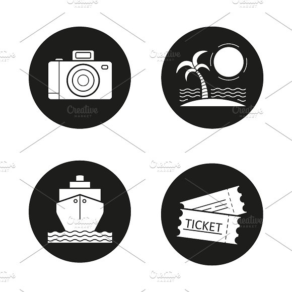 Travelling icons set. Vector - Icons
