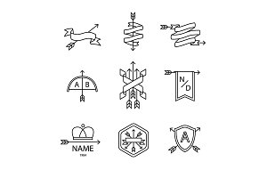 Arrow ribbon logo and emblem