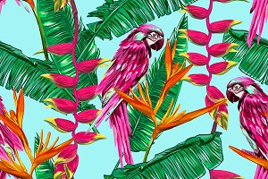 Jungle pattern with parrots