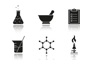 Chemical laboratory icons. Vector
