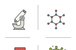 Science laboratory icons. Vector