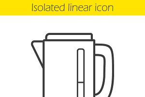 Electric kettle linear icon. Vector