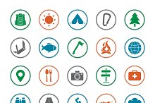 Camping icons set. Vector