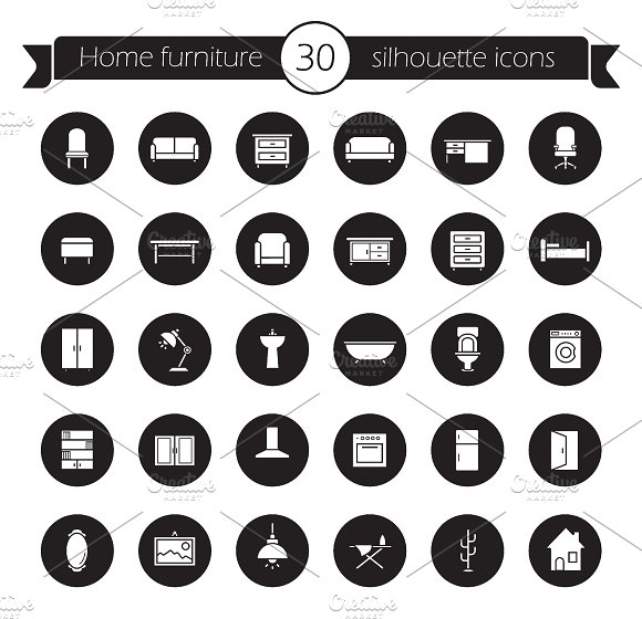 Furniture icons set. Vector - Icons