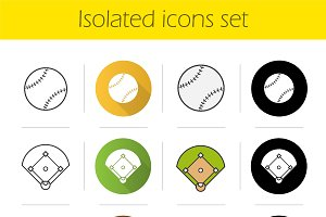 Baseball equipment icons set. Vector