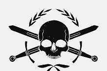 Skull and crossed sword icon. Vector