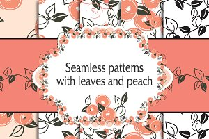 set seamless pattern with peach