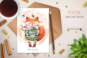 Little fox template card