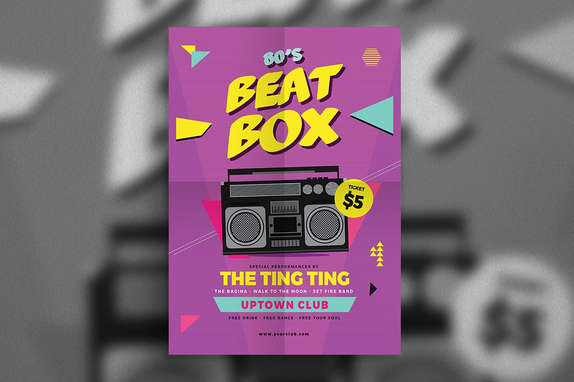 80s beat box music flyer flyer templates creative market. Black Bedroom Furniture Sets. Home Design Ideas