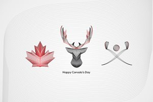 Canada's Day Linear Illustrations