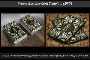 Ornate Business Card Template Mockup
