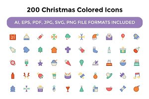 200 Christmas Colored Icons