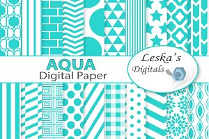 Aqua Digital Paper Pack