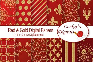 Gold and Red Digital Paper