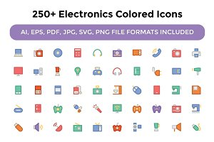 250+ Electronics Colored Icons