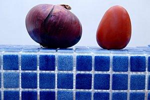 purple onion and tomato