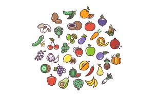 Fruit and vegetables line icons