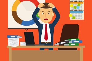 Businessman stress at work