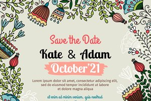 Save the date card with floral
