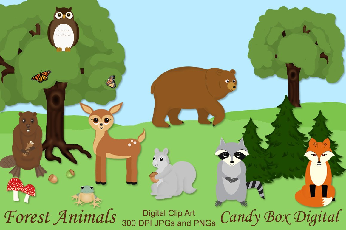 751058 Woodland Forest Animal Clip Art on Vehicles Shadow Matching