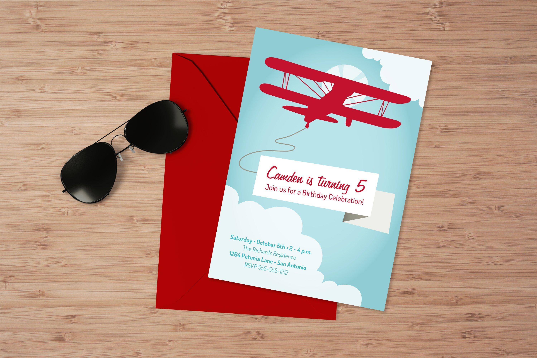 Airplane Birthday Party ~ Invitation Templates ~ Creative Market
