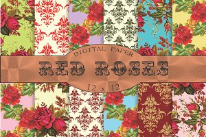 Red roses floral patterns