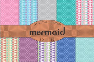 Seamless backgrounds mermaid