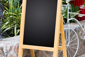 Wooden display blackboard