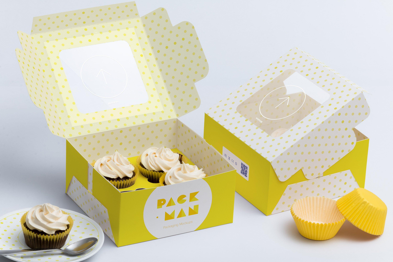 Four Cupcake Box Mockup 01 ~ Product Mockups ~ Creative Market