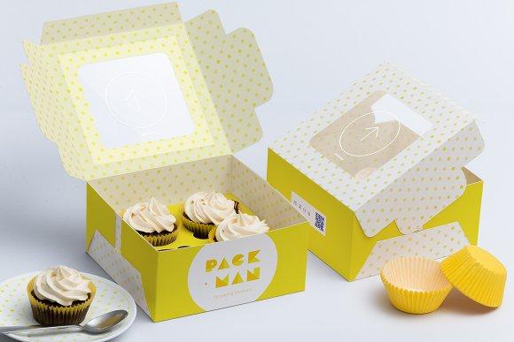 Download Four Cupcake Box Mockup 01