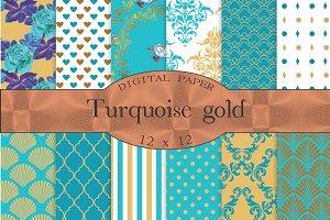 Aqua gold, turquoise digital paper