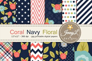 Coral Navy Floral Digital Papers