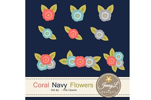 Coral Navy Flower Bouquet