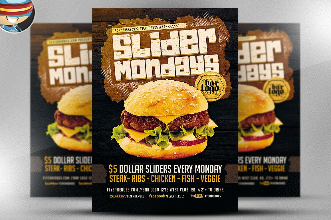 slider mondays flyer template flyer templates on creative market