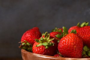 Closeup Bowl of Strawberries